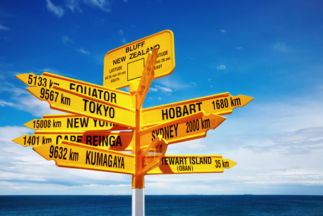 Signpost in the Stirling Point, Bluff, New Zealand